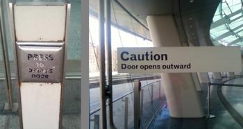 Push to operate door. Caution: door opens outward.